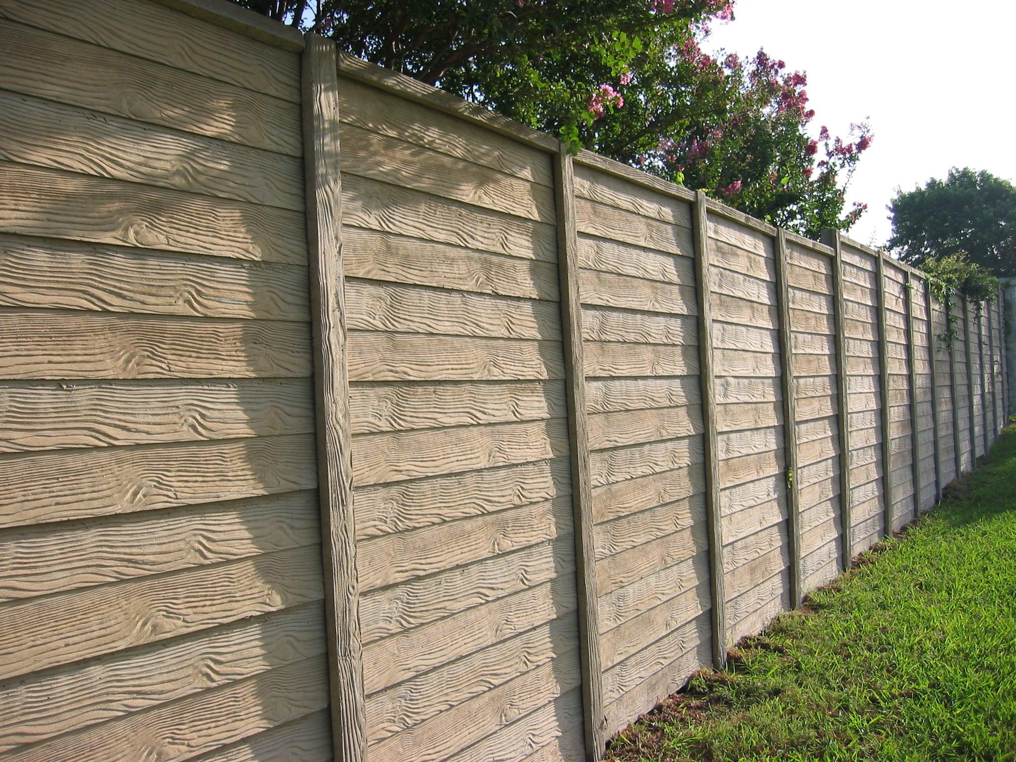 Concrete Fence wood pattern