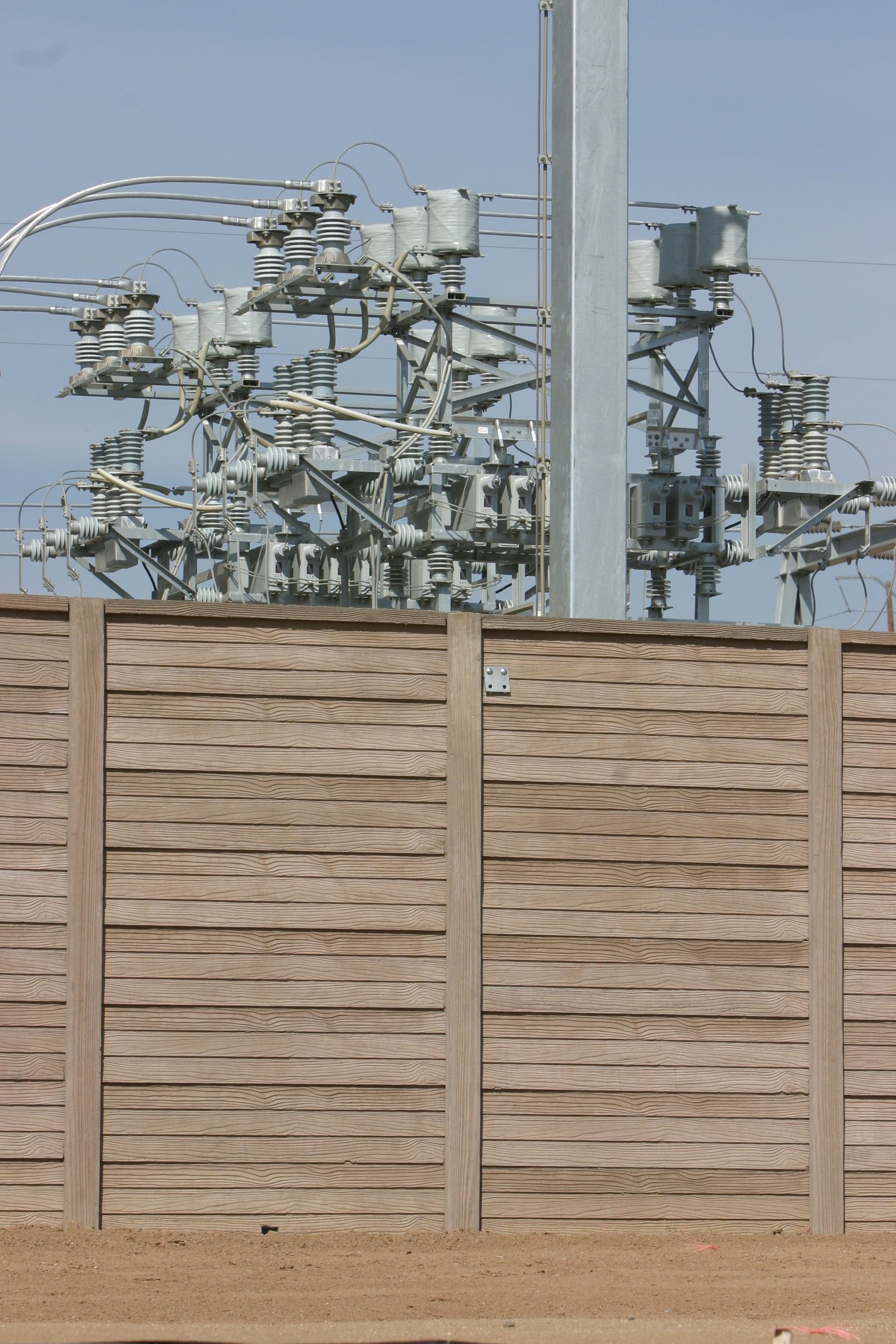 concrete fence at electrical substation